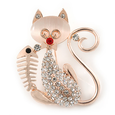 Crystal Cat with Fish Skeleton Brooch In Gold Plating - 45mm L