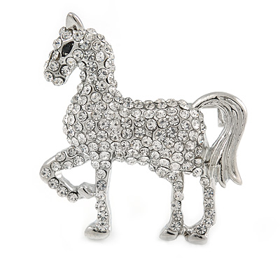 Small Clear Crystal Horse Brooch In Silver Tone Metal - 40mm - main view