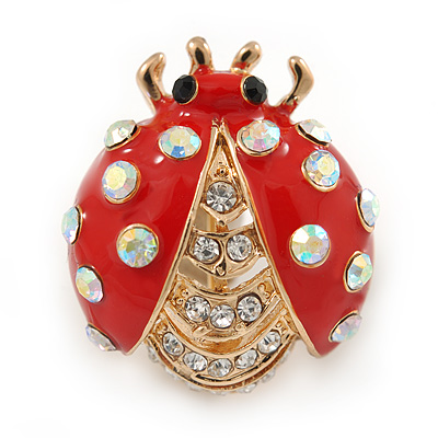 Red Enamel Clear/ AB Crystal Ladybug Brooch In Gold Plating - 25mm L