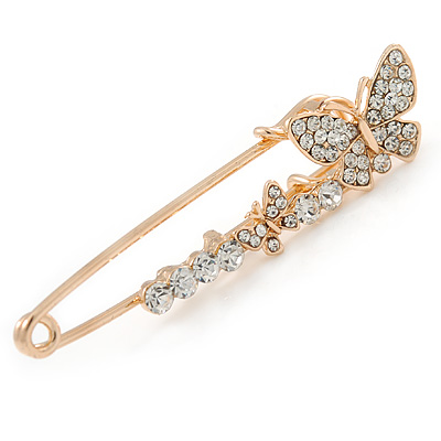 Medium Clear Crystal Double Butterfly Safety Pin In Gold Tone - 65mm L