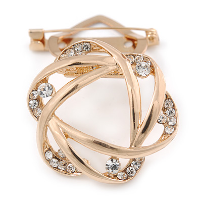 Gold Plated Crystal Open Flower Scarf Clip/ Brooch - 37mm D