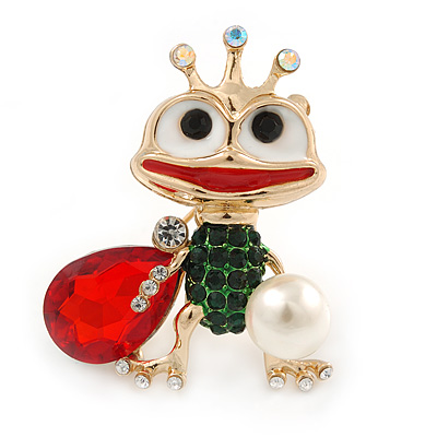 Funky Green/ Red/ Clear Crystal Frog Brooch In Gold Plating - 43mm L - main view
