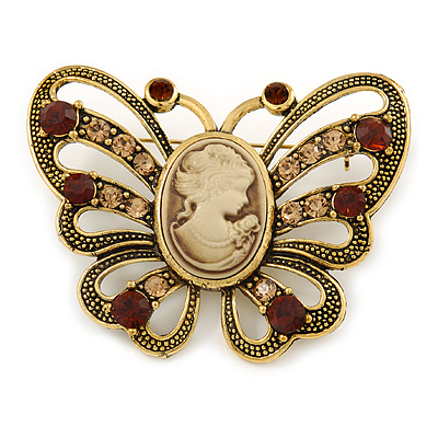Vintage Inspired Tan Coloured Cameo Butterfly Brooch In Antique Gold Tone - 65mm W - main view