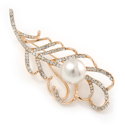 Gold Plated Clear Crystal Pearl Leaf Brooch - 80mm L