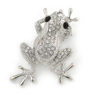 Silver Plated Clear/ Black Crystal Frog Brooch - 50mm L