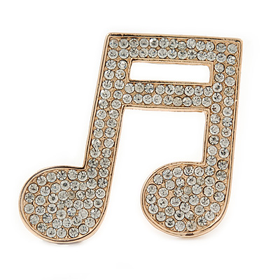 Gold Plated Pave Set Clear Crystal Musical Note Brooch - 35mm