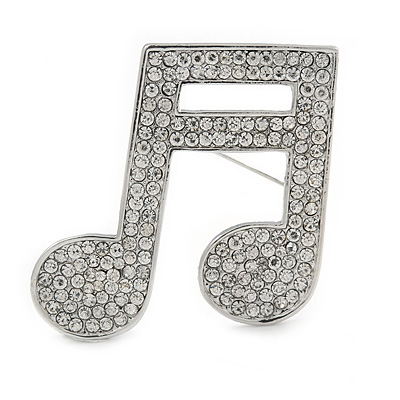 Silver Plated Pave Set Clear Crystal Musical Note Brooch - 35mm