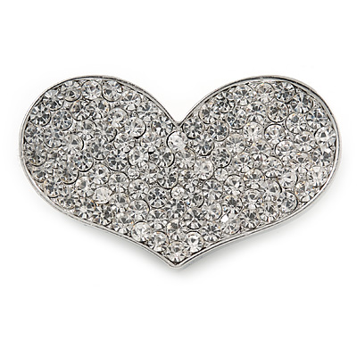 Silver Plated Pave Set Clear Crystal Heart Brooch - 47mm - main view