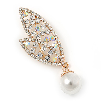 Clear Crystals Double Leaf with Pearl Brooch In Gold Plating - 60mm L