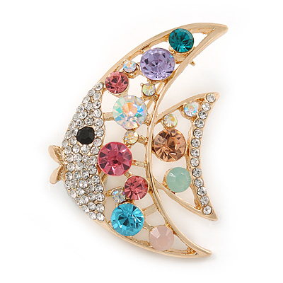 Multicoloured Crystal Fish Brooch In Gold Tone Metal - 45mm L