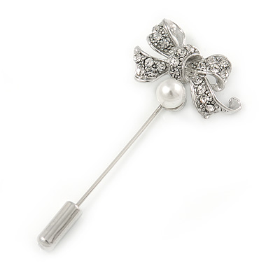 Silver Tone Clear Crystal White Pearl Bow Lapel, Hat, Suit, Tuxedo, Collar, Scarf, Coat Stick Brooch Pin - 55mm L