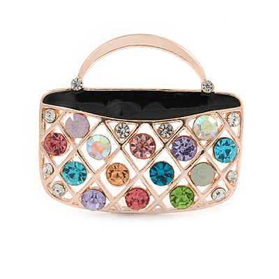 Multicoloured Crystal Bag Brooch In Gold Plated Metal - 37mm L
