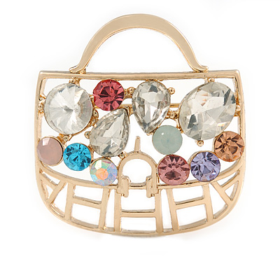 Gold Plated Multicoloured Crystal Bag Brooch - 35mm W
