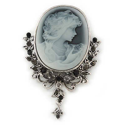 Vintage Inspired Diamante Charm Grey Cameo Brooch/Pendant In Antique Silver Metal - 80mm L