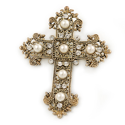 Victorian Style Clear Crystal, Glass Pearl Filigree Large Cross Brooch In Antique Gold Tone - 85mm L - main view