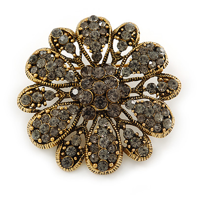 Vintage Inspired Grey Coloured Austrian Crystal Floral Brooch In Antique Gold Tone - 43mm D