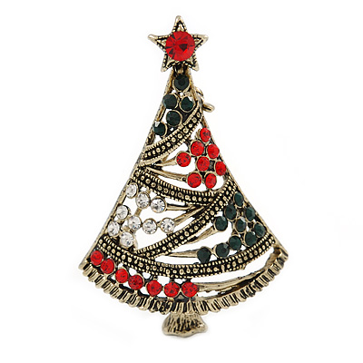 Vintage Inspired Red/ Green/ Clear Crystal Christmas Tree Brooch In Antique Gold Tone Metal - 47mm L