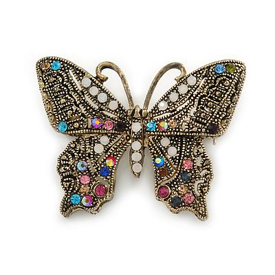 Marcasite Multicoloured Butterfly Brooch In Bronze Tone Metal - 47mm W
