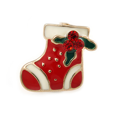 Tiny Crystal White/ Red Enamel Christmas Stocking Brooch In Gold Plated Metal - 15mm L