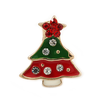 Tiny Green/ Red Enamel, Crystal Christmas Tree Pin Brooch In Gold Tone - 17mm L