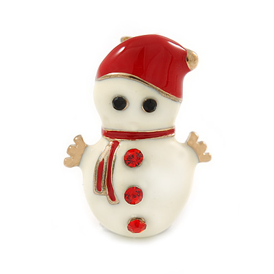 Tiny White/ Red Enamel, Crystal Christmas Snowman Brooch In Gold Tone - 20mm L
