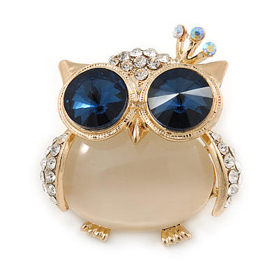 Gold Plated Clear/ Blue Crystal with Cat Eye Stone Owl Brooch - 35mm L - main view