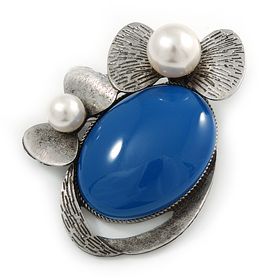Royal Blue Ceramic Oval Stone with Pearl Flowers Brooch/ Pendant In Pewter Tone Metal - 70mm