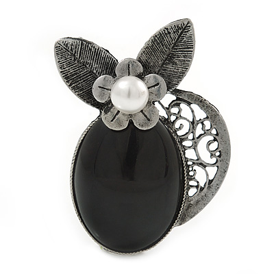 Vintage Inspired Black Oval Resin Stone, Pearl Flower Pewter Tone Brooch/ Pendant - 65mm