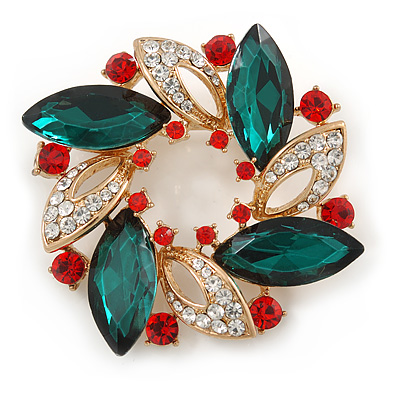 Red/Green/White Crystal Christmas Holly Wreath Brooch In Gold Tone - 40mm - main view