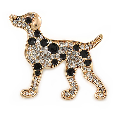 Gold Plated Crystal, Enamel Dalmatian Dog Brooch - 35mm - main view