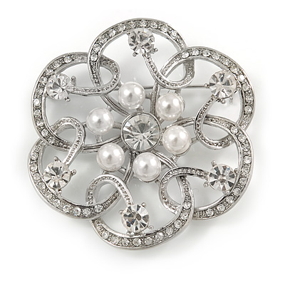 Bridal, Wedding, Prom Crystal, Simulated Pearl Open Flower Brooch In Rhodium Plating - 50mm - main view