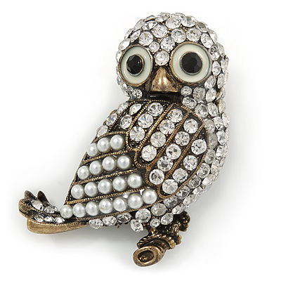 Vintage Inspired Crystal, Simulated Pearl Owl Brooch In Bronze Tone Metal - 50mm L