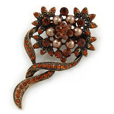 Vintage Inspired Amber Coloured, Simulated Brown Pearl Bead Floral Brooch In Bronze Tone Metal - 55mm - main view