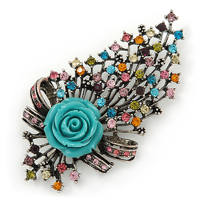 Large Vintage Inspired Multicoloured Crystal Rose Floral Brooch/ Pendant In Antiqued Silver Tone - 95mm L