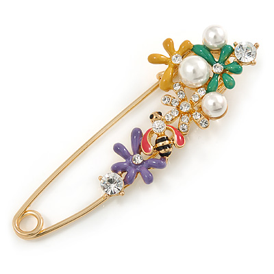 Multicoloured Enamel Flowers, Bee, Simulated Pearls Safety Pin Brooch In Gold Tone - 80mm L