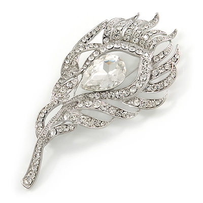 Exotic Clear Crystal 'Peacock Feather' Brooch In Rhodium Plating - 8cm L - main view