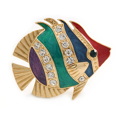 Funky Multicoloured Enamel Crystal Fish Brooch In Gold Tone Metal - 50mm L