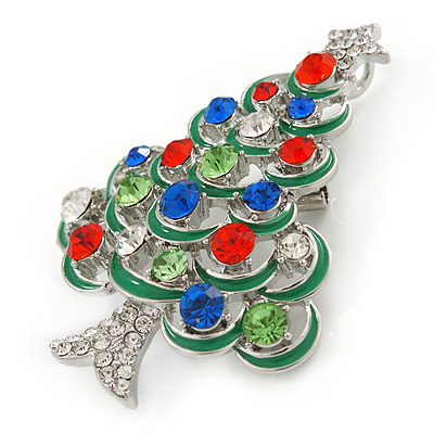 Clear Austrian Crystals Christmas Tree Brooch//Pendant in Rhodium Plating 55mm L Avalaya Holly Jolly Red Green