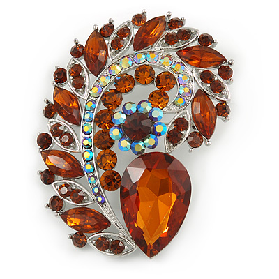 Large Topaz, AB Glass 'Feather' Corsage Brooch In Silver Plating - 75mm L