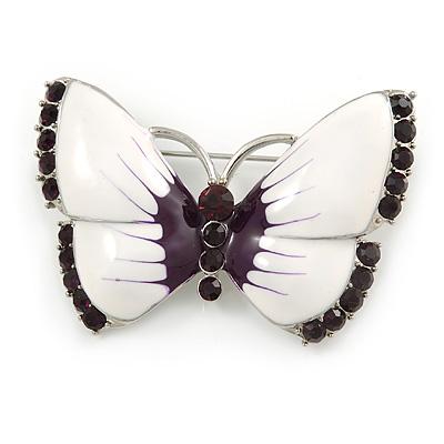 White Eanamel Purple Crystal Butterfly Brooch In Silver Tone Metal - 50mm