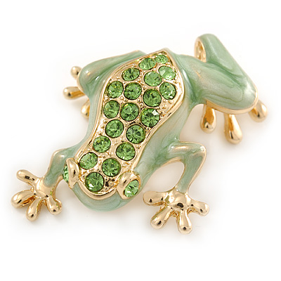 Salad Green Enamel Austrian Crystal Leaping Frog Brooch In Gold Plated Metal - 45mm L