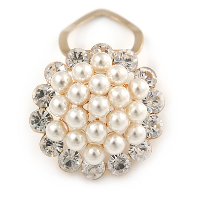 White Faux Pearl & Clear Diamante Round Scarf Pin/ Brooch In Gold Finish - 32mm D - main view