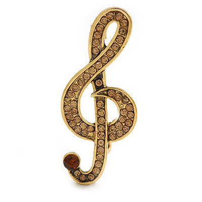 Light Topaz Crystal Treble Clef Brooch In Gold Tone Metal - 45mm
