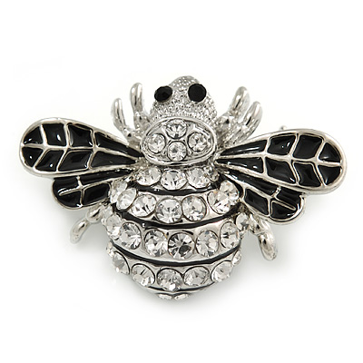 Little Clear Crystal, Black Enamel Bee Brooch In Silver Tone - 35mm W