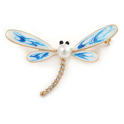 Elegant White/ Light Blue Enamel, Faux Pearl, Crystal Dragonfly Brooch In Gold Tone Metal - 60mm W - main view