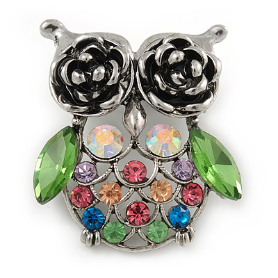 Vintage Inspired Multicoloured Crystal Owl Brooch In Antique Silver Tone - 40mm L