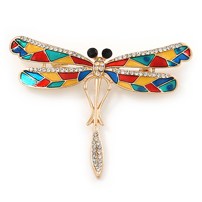 Multicoloured Crystal Dragonfly Brooch In Gold Tone Metal - 70mm W