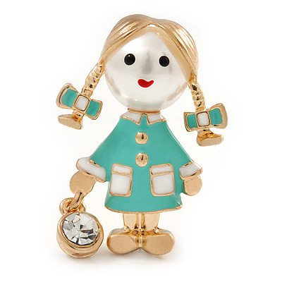 Funky Mint Green Enamel, Pearl Bead Doll Brooch with Crystal Purse In Gold Tone Metal - 40mm L