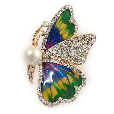Green/ Blue/ Yellow Enamel Crystal Butterfly Brooch/ Pendant In Gold Plated Metal - 50mm