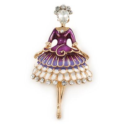 White/ Purple Enamel, Crystal Ballerina Brooch In Gold Tone Metal - 55mm L